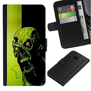A-type (Loco Evil Zombie) Colorida Impresión Funda Cuero Monedero Caja Bolsa Cubierta Caja Piel Card Slots Para HTC One M8