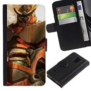 KLONGSHOP // Tirón de la caja Cartera de cuero con ranuras para tarjetas - Mech Gundam - Samsung Galaxy S5 V SM-G900 //
