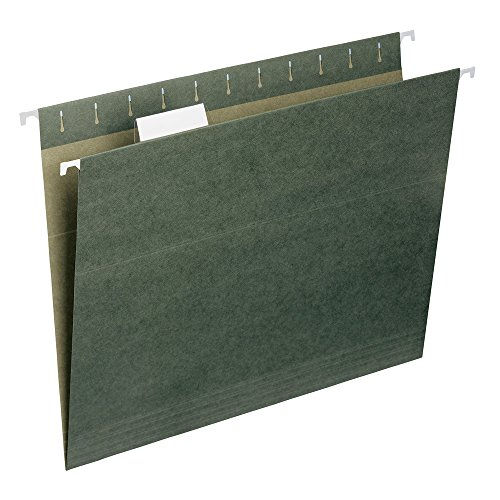 Smead Hanging File Folder with Tab, 1/5-Cut Adjustable Tab, Letter Size, Standard Green, 50 per Box (64029) - File Folder Letter