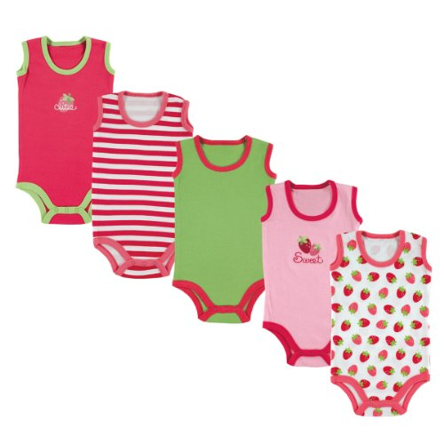 Girls Sleeveless Bodysuit (Luvable Friends Baby Infant 5-Pack Lightweight Sleeveless Bodysuits, Pink Strawberry, 6-9 Months)