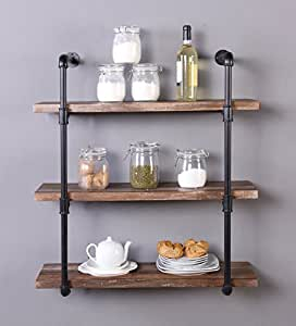 Homisso 31.5-Inch Industrial Pipe Shelf, 3-Tier Wall mounted Bookshelf with Black Iron Pipe Bracket