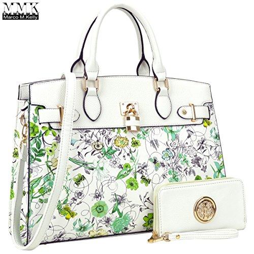 Women Fashion Handbag with Matching wallet~Classic Women Purse & Beautiful Handbags for Women~Signature Women Designer Purse ~ Perfect Women Satchel handbag with Free wallet(03-6876-W-WHITE FLOWER)
