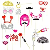 Bachelorette Party Photo Booth Props,Bride-To-Be Bridesmaid Girls Night Out,22-Piece Variety Pack,great for party games and gifts,decoration,Mask/Tiara/Mustache/Lips.