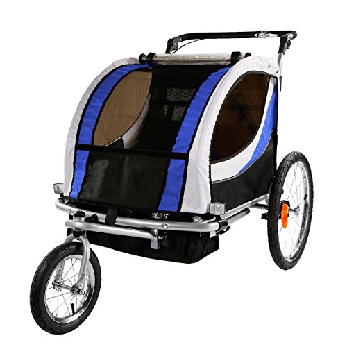 Clevr Blue Collapsible 2 Seats 3-in-1 Double Bicycle Trailer Baby Bike Jogger/Stroller Jogging Running Kids Cart Bike | Suspension & Pivot Front Wheel