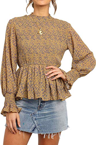 (CILKOO Women Frill Smocked Solid Turtleneck Top Long Latern SleeveFlower Prited Tops Office Work BlouseTShirts Yellow US12-14 Large)