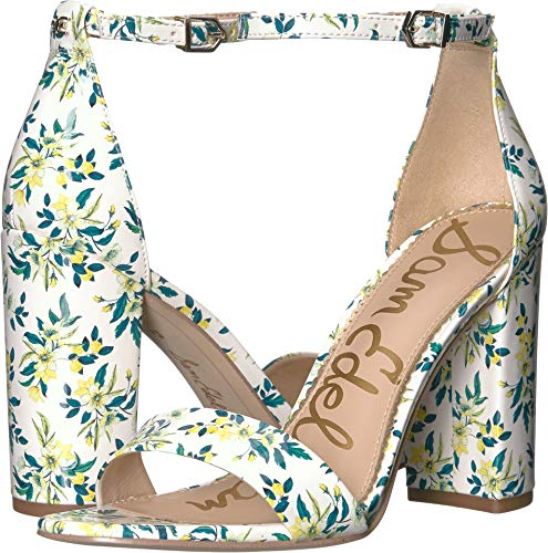 Sam Edelman Women's Yaro Ankle Strap Sandal Heel White Multi Lemon Drop Floral Patent 4.5 M US