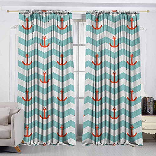 Tiled Buddha Art - VIVIDX Print Window Curtain,Anchor,Simple Pattern Anchor Stripe Artwork Baby Welcoming Wavy Water Tiled Surface,Insulated with Curtains for Bedroom,W72x45L Inches Red Turquoise