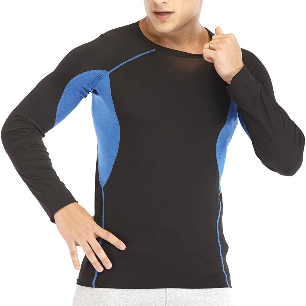 Mens Sport Long Sleeve T-Shirt Cool Dry Compression Top Long Sleeve