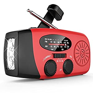 [Upgraded Version] Wewdigi Dynamo Emergency Solar Hand Crank Self Powered AM/FM NOAA Weather Radio LED Flashlight ,1000mAh Power Bank for iPhone/Smart Phone (Red.)