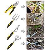dozenla 9 Pcs Garden Tool Sets Plant Rope Gloves 6 Heavy Cast Aluminum Heads with Ergonomic Handles Garden Tote [US Stock]
