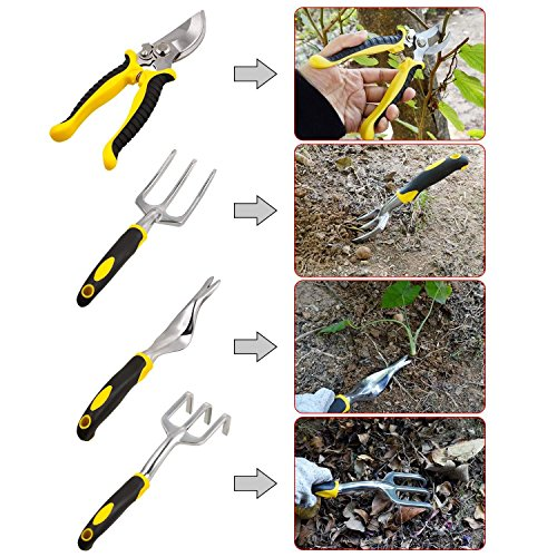 dozenla 9 Pcs Garden Tool Sets Plant Rope Gloves 6 Heavy Cast Aluminum Heads with Ergonomic Handles Garden Tote [US Stock] by dozenla
