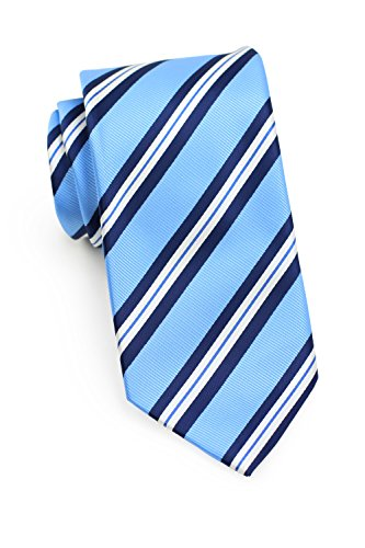 Bows-N-Ties Men's Necktie Preppy Repp Striped Microfiber Satin Tie 3.1 Inches (Sky Blue and Navy) Light Blue Striped Satin