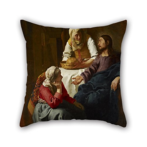 Beautifulseason Oil Painting Johannes (Jan) Vermeer - Christ In The House Of Martha And Mary Throw Pillow Case 16 X 16 Inches / 40 By 40 Cm Gift Or Decor For Indoor,home,sofa,drawing Room,dinning R