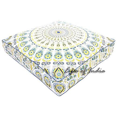 Eyes of India - 35'' Large Oversized White Yellow Mandala Square Floor Pillow Cover Pouf Meditation Cushion Seating Hippie Colorful Decorative boho dog bed Bohemian IndianCover Only