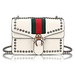 Meeto Designer Shoulder Bag For Women Fashion Bee Crossbody Bag Handbags With Chain Evening Bag Cross Body Bag For Women Ladies Girls Of 2019 Newest White