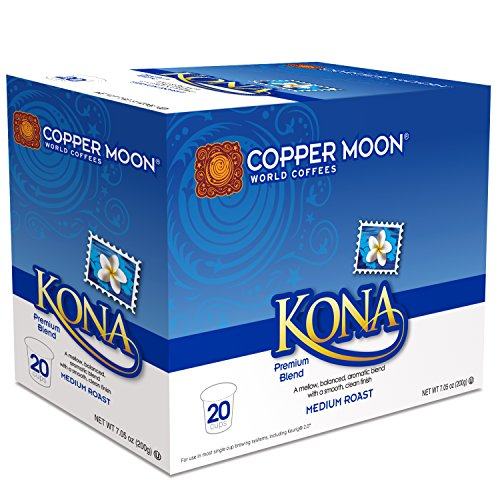 Copper Moon Single Cups for Keurig K-Cup Brewers, Kona Blend, 20 Count, Medium Roast Coffee, with a Mellow, Balanced Body, and Nutty Finish, Single-Serve Coffee Pods