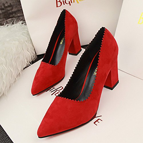 Pumps Faux Pointed Chunky Heel Red Plain jntworld Toe Suede Women Bq48Y8