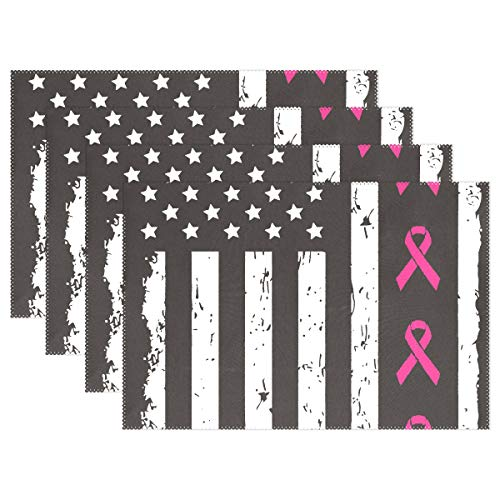 engree Breast Cancer Awareness Ribbons Big American Flag Placemats Set of 4 Heat Insulation Stain Resistant for Dining Table Durable Non-Slip Kitchen Placemat Small