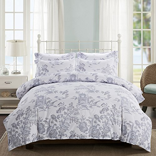 Delbou Tree Duvet Cover Set, Zipper Closure with Corner Tie,