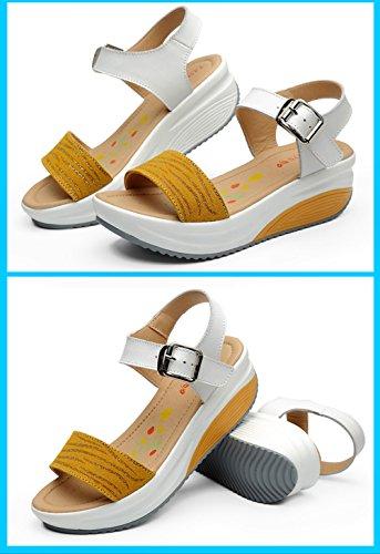 SPEEDEVE Women's Buckle Thick Bottom Sandals, Ladies Wedges Platform Open Toe Sandals Female Summer Shoes Prime Yellow