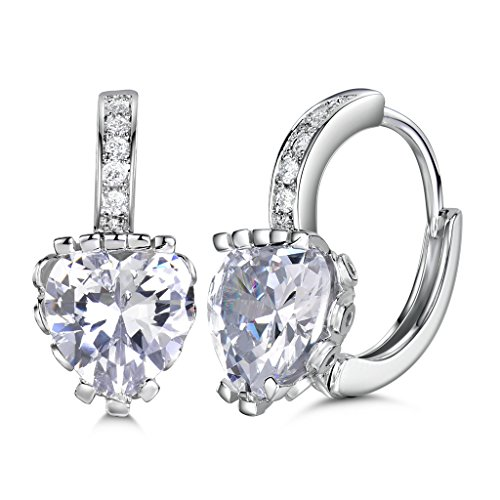 GULICX White Gold Tone Lovely Cubic Zirconia Created White Sapphire Hoop Pierced Huggie Earrings (Sapphire Pierced Earrings)