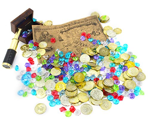 WellPackBox 300 Pirates Gold Coins Jewels Plus Buried Treasure Map and 6