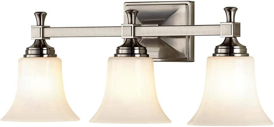 Home Decorators Collection 3-Light Satin Nickel Bath Sconce with Opal Glass Shades