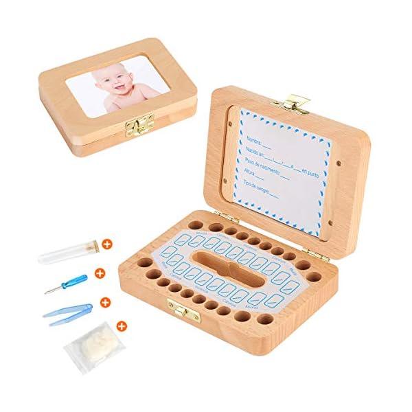 Luchild caja dientes leche ESPAÑOL, Caja para guardar dientes para niños y niñas, Regalo para niños en madera de… 2