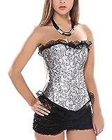 Muka Women Overbust Lace Boned Corset Bustier Renaissance Halloween Costume