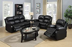 Beverly Furniture Nottingham Bonded Leather 3-Piece Reclining Sofa Set with 5 Recliners Black & Amazon.com: Beverly Furniture Nottingham Bonded Leather 3-Piece ... islam-shia.org
