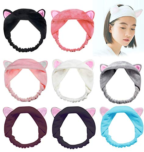 FIBO STEEL 8 Pcs Cute Cat Ears Headband for Women Girls Facial Band Lovely Spa Makeup Wrap Headbands -
