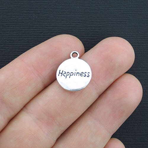 SC234 4 Happiness Charms Antique Silver Tone 2 Sided