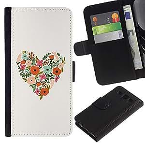 UberTech / Samsung Galaxy S3 III I9300 / Heart Minimalist Drawing Spring Nature / Cuero PU Delgado caso Billetera cubierta Shell Armor Funda Case Cover Wallet Credit Card