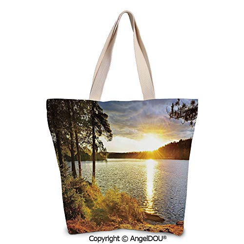 SCOXIXI Landscape Large Ladies Canvas Shoulder Bags Shopping Bag Sunset Dawn in