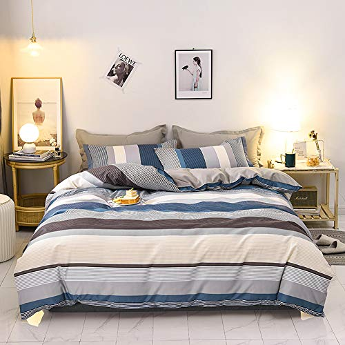 Fluffy Cat 3PCS Duvet Cover Set King(1 Duvet Cover+2 Pillowcases),Colorful Striped with Hidden Zipper & Corner Ties,100% Microfiber,Hypoallergenic King Bedding Sets (Dark Brown&Blue, King)