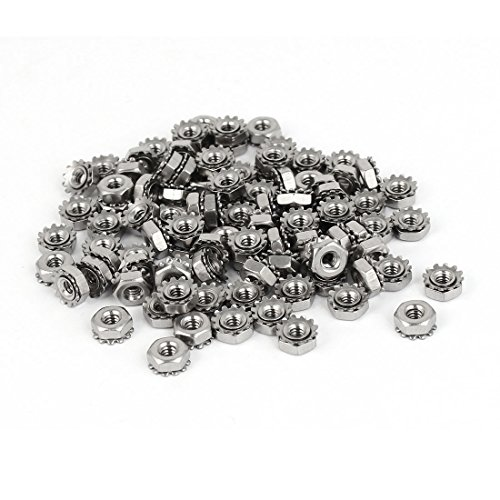 Uxcell a16062700ux0799 Kep Nut 4#-40 304 Stainless Steel Female Thread Kep Hex Head Lock Nut 100Pcs