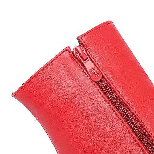 Allhqfashion Womens Low-top Zipper Smalto Opaco Tacco Alto Chiuso Punta Rotonda Stivali Rosso-pu