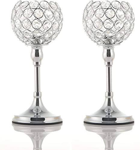 Vincigant 2pcs Silver Crystal Candle Holders For Dining Table Coffee Table Holiday Decor Candlestick Centerpiece 10 Inches Tall Amazon Ca Home Kitchen