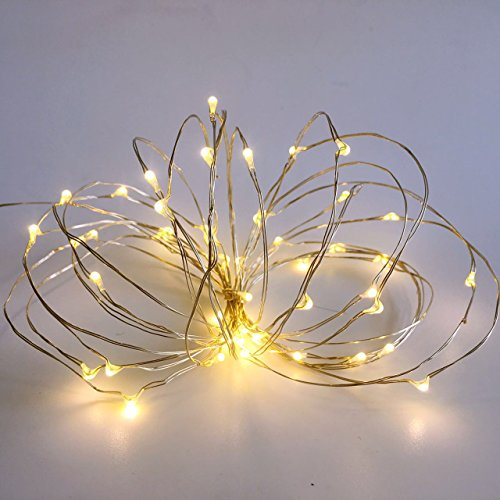 Pack 2 Indoor Battery-Operated String Lights with Timer Mini LEDs Fairy Lights for Christmas Party Wedding centerpieces Decorations Total 100 Count LEDs 36FT Silver Wire (Warm White)