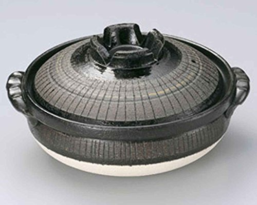 Black Tokusa for 4-5 persons 11.4inch Donabe Japanese Hot pot Black Ceramic Made in Japan by Watou.asia
