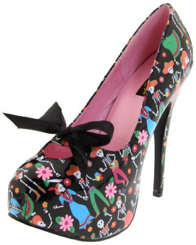 Negro Blk Muertos Couture Pinup de Print Pat mujer zapatos tacón Ugawv