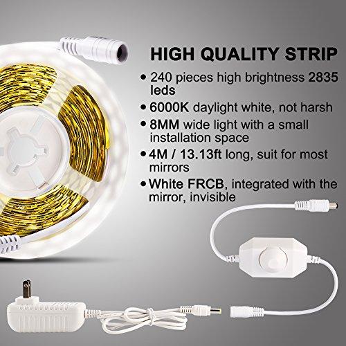 Litake LED Light Strip Kit with Dimmer and Power Supply, 240 Units SMD 2835 LEDs, 13ft/4M 12V LED Ribbon, 6000K Daylight White LED Strip Lights, Non-Waterproof LED Tape by Litake (Image #1)