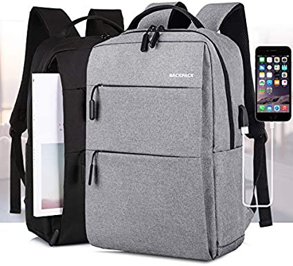 Wuyou Laptop Cases Computer Backpack Notebook Backpack Multi-Function Charging Backpack Meeting Gift Bag Portable Sleeve Briefcase Color : Light Gray, Size : 15 inch