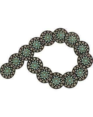 Nocona Women's Wide Floral Discs Belt, Black, XL
