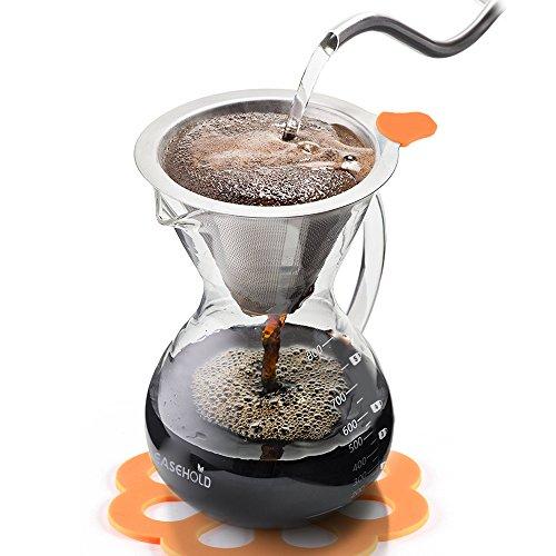 """Easehold Kaffeezubereiter """"Pour Over"""" mit Dauerfilter aus Edelstahl und Karaffe. Dripper zum Aufbrühen des Kaffees"""