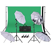 Photography Studio, Andoer Photography Video Studio Photo 45W 5500K Bulb Studio Lighting Kit Umbrella with 5.2 x 9.8ft Backdrop Support System for Figure Portrait Product Video Shooting Photography