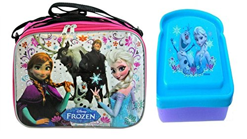 Disney Frozen Insulated Soft Lunch Bag Featuring Elsa, Anna, Olaf, Kristoff & Sven Bonus Frozen Bread Shaped Sandwich Container
