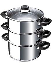 Beka Polo - Set para cocción al Vapor (3 cazuelas, Acero Inoxidable, Tapa de Cristal)