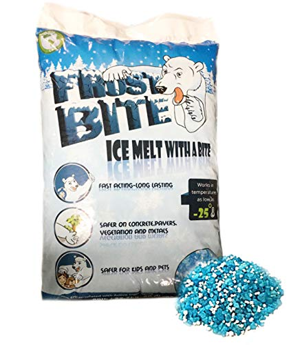 FROST BITE ICE MELTER 50lbs BAG: Ice Melt Rock Salt – Blue Tint, Commercial and Home Use - Enhanced Melting Power for Safer Sidewalks, Driveway and Roads in Icy temperatures ()