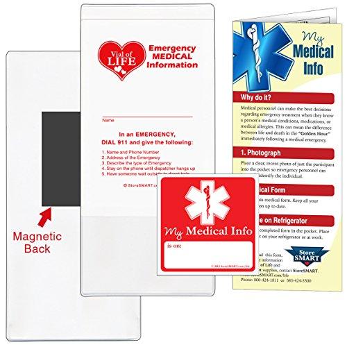- StoreSMART - Vial/File of Life Medical Info Pocket - Magnetic Back - 5-Pack - for Refrigerator, Locker, Filing cabinets - VHTSM-5